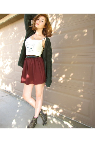 brick red chiffon American Apparel skirt - off white BDG top