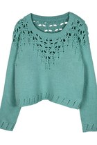 Hollow Knitwear Cropped Sweater (Aquamarine)