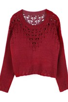 Hollow Knitwear Cropped Sweater (Burgundy)