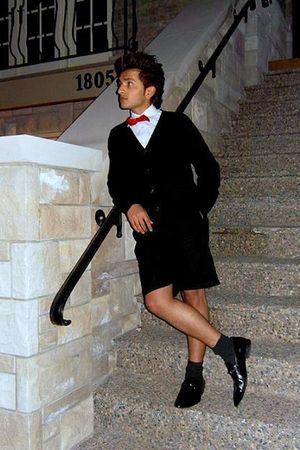 red bowtie Michaelsons tie - black Zara shoes - black H&M shorts