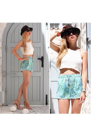 off white vintage blouse - turquoise blue Zara shorts