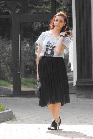 sammydress skirt - OASAP necklace - Sheinside blouse - tbdress sandals