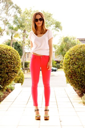 neon pink BLVD jeans - clear skeleton BLVD glasses - Dolce & Gabanna wedges