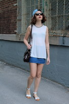 white open sides brandy melville top - blue jeans Topshop skirt