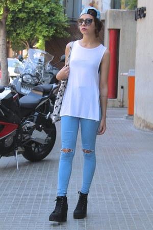 sky blue Topshop jeans