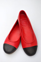 red leather elf flats