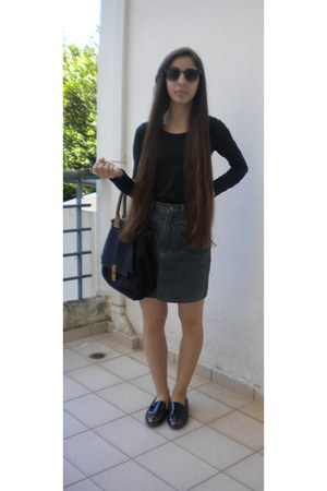 black Migato loafers - charcoal gray Esprit skirt - black Zara blouse
