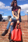 Turquoise-blue-ripped-jeans-new-look-jeans-red-red-bag-oasis-bag