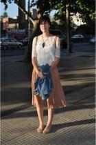 blue unknown jacket - white unknown shirt - tawny Isadora bag - camel Zara skirt