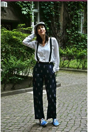 heather gray H&M hat - white Zara shirt - navy H&M pants - black H&M accessories