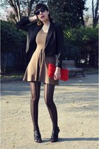mustard Zara dress - black H&M blazer - ruby red H&M purse
