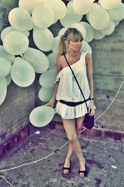 white dress - black shoes - brown belt