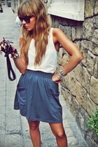 American Apparel skirt - vintage t-shirt - vuarnet glasses