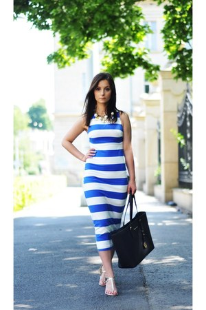 blue Zara dress - black Michael Kors bag