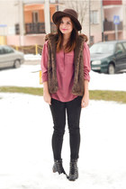 brown faux fur pull&bear vest - black Deichmann boots - dark brown Bershka hat