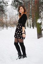 light pink bow H&M bracelet - black Deichmann boots - black dotted H&M tights
