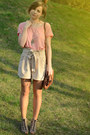 Light-pink-h-m-shirt-brown-artz-modell-bag-off-white-h-m-shorts-necklace-h