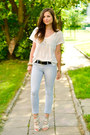White-h-m-t-shirt-silver-zara-heels-sky-blue-stradivarius-pants