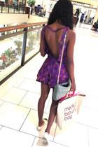 purple Kemana romper - eggshell Chanel flats
