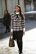 brick red plaid Zara jacket - black Miu Miu boots