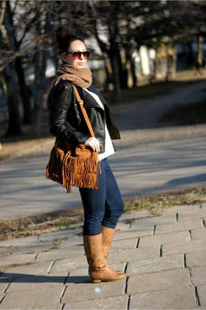 the code bag - romwe jacket - Aldo sunglasses - OASAP blouse