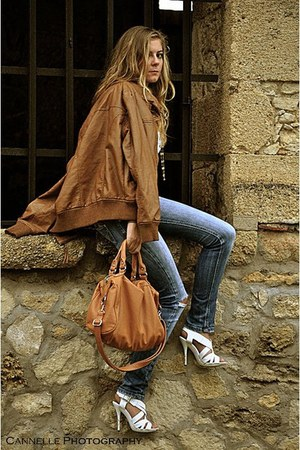 blue RWD jeans - camel Mango bag - camel cardigan - white new look heels