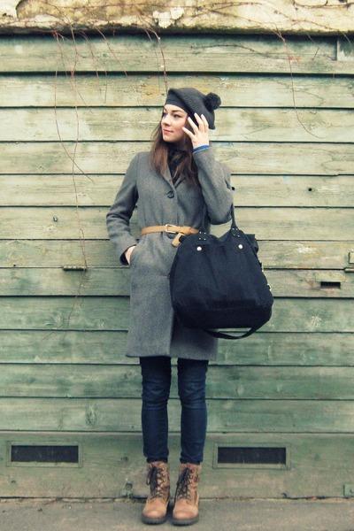 camel Bata boots - heather gray Marc OPolo coat - navy jeans - gray  hat - black