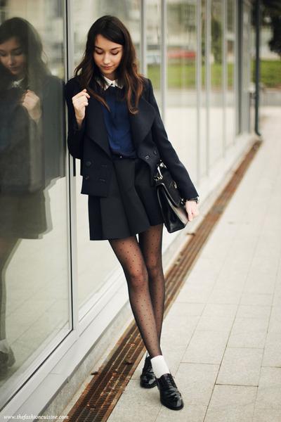 blazer - shirt - bag - loafers - skirt