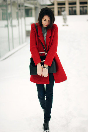 PERSUNMALL coat - Zara boots - H&M jeans - PERSUNMALL sweater - vintage bag