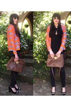 black Topshop jeans - carrot orange vintage blazer - brown Kimchi Blue bag