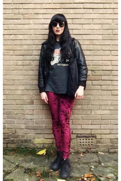 vintage 80s t-shirt - resurrection jacket - MinkPink leggings - H&M sunglasses