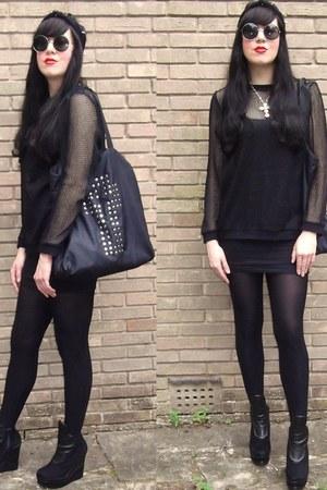 black wedge boots PPQ boots - black Aqua by Aqua sweater