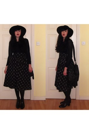 black Topshop boots - black H&M hat - black H&M sweater - black asos bag