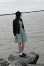 Aquamarine-made-by-me-dress-black-hat-black-wet-seal-jacket-charcoal-gray-