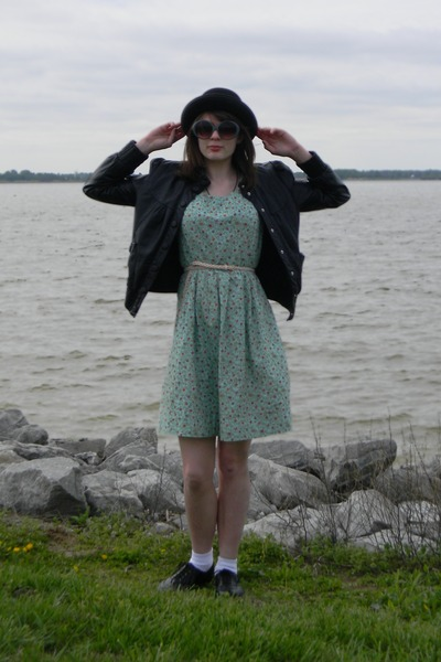 aquamarine made by me dress - black hat - black Wet Seal jacket - charcoal gray