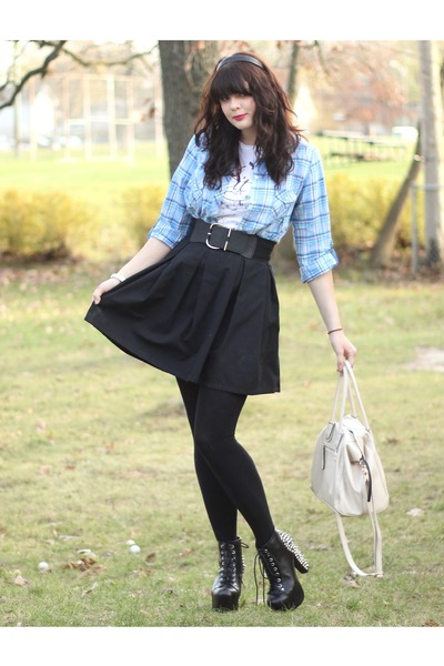 black Jeffrey Campbell boots - sky blue Old Navy shirt - black Target tights