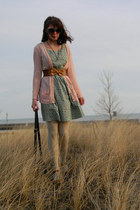 camel Charlotte Russe belt - aquamarine made by me dress - beige merona tights