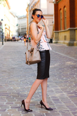 Zara top - Zara bag - Zara glasses - Zara skirt - Hugo Boss pumps