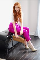 tan learher American Apparel bag - hot pink vintage pants - nude patent leather