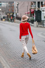 Red-zara-sweater-zara-blouse-off-white-pants-camel-zara-wedges