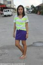 Chartreuse-stripes-folded-and-hung-shirt-purple-skirt-ivory-sandals