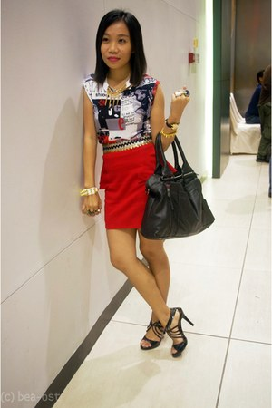 skirt - bag - blouse - spiked bracelet - pumps