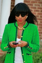 Christian Louboutin shoes - ripped JCrew jeans - green elizabeth arden jacket