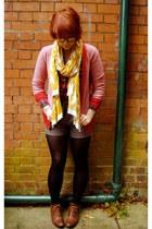 gold H&M scarf - red River Island shirt - silver Vero Moda shorts