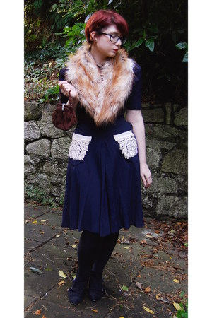navy vintage dress - black Topshop boots - gold H&M scarf