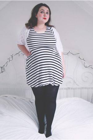 black stripes Primark dress - white knit vintage cardigan
