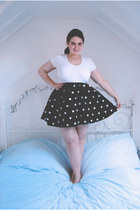 white basic Primark t-shirt - black polkadot H&M skirt