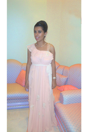 chiffon self-made dress - Tiffany &amp; Co earrings - Chanel necklace - Ebel watch