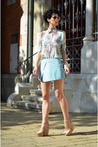 Randa shoes - Chicwish shorts - giant vintage sunglasses - OASAP blouse