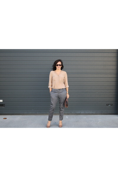 H&M pants - asos shoes - silk Zara blouse